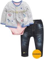 Ladybird Baby Girls Chick Cardigan, Bodysuit And Jeans Set