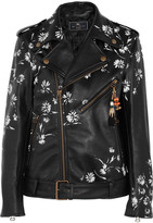 Etro Embellished Printed Leather Biker Jacket - Black