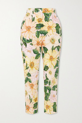 Dolce & Gabbana - Cropped Floral-print Cotton-poplin Straight-leg Pants - Yellow