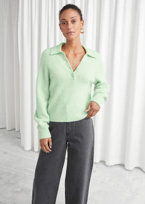 And other stories Collared Wool Blend Ribbed Sweater
