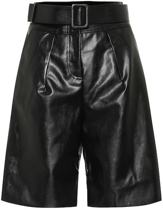 Self-Portrait Faux-leather Bermuda shorts
