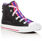 Converse Girls' Chuck Taylor All Star Shimmer Loopholes High Top Sneakers - Toddler, Little Kid, Big Kid