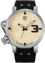 Shark Men's Sport Oversize Dial Crown Black Silicone Band Analog Quartz Wrist Watch Salmon SH520