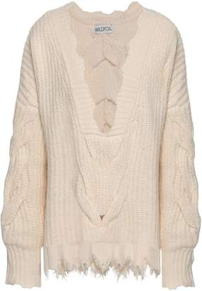 Wildfox Couture Distressed Cable-knit Cotton-blend Sweater