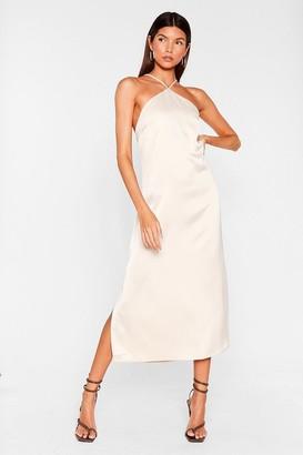 Nasty Gal Womens At Ease Satin Halter Midi Dress - Tan - 4