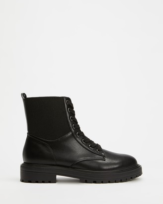 Dazie - Women's Black Lace-up Boots - Franco Ankle Boots - Size 5 at The Iconic
