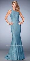 La Femme Lace Keyhole Open Back Mermaid Prom Gown