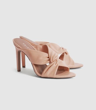 Reiss Ella - Leather Twist Front Heeled Mules in Pale Pink