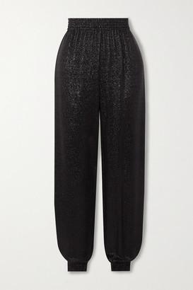 Saint Laurent Metallic Knitted Track Pants - Black
