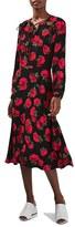 Topshop Women's Rose Print Keyhole Midi Dress