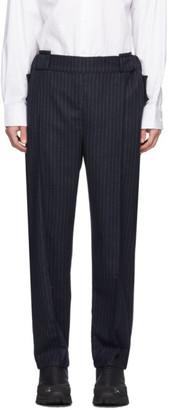 Boramy Viguier Navy Pinstripe Trousers