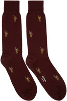 Paul Smith Burgundy Monkey Socks