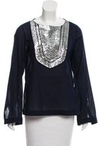 Tory Burch Sequined Long Sleeve Blouse