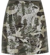 River Island Womens Khaki camo print sequin mini skirt