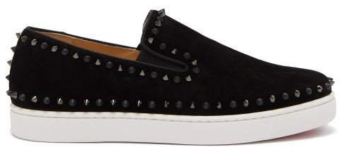 best sneakers ea036 3ee8d Pik Boat Spike Embellished Suede Slip On Trainers - Mens - Black