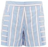 Palmer Harding Palmer//Harding Palmer//harding - Dana Embroidered-stripe Pleated Poplin Shorts - Womens - Blue Multi