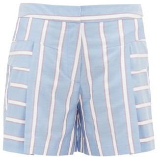 Palmer Harding Palmer//harding - Dana Embroidered-stripe Pleated Poplin Shorts - Blue Multi
