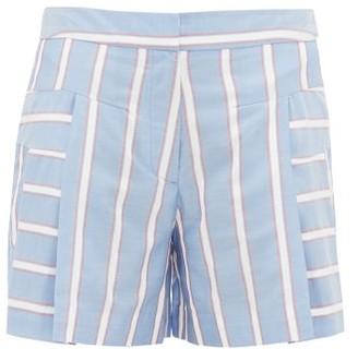 Palmer Harding Palmer//harding - Dana Embroidered-stripe Pleated Poplin Shorts - Womens - Blue Multi