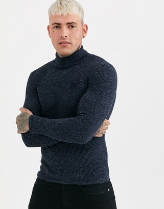 SikSilk muscle fit knitted roll neck sweater in navy