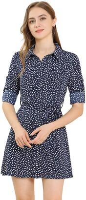 Allegra K Women's Casual Point Collar Long Sleeve Ditsy Floral Full Placket Mini Shirt Dress Blue 8