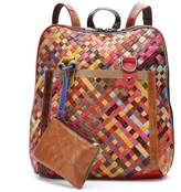 Amerileather AmeriLeather Ellen Leather Basketweave Convertible Backpack with Coin Purse