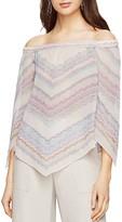 BCBGMAXAZRIA Octavia Off-the-Shoulder Handkerchief Hem Silk Chiffon Top