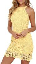 NALATI Women's Halter Neck Sleeveless Floral Lace Mini Dress (M, )