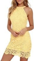 NALATI Women's Halter Neck Sleeveless Floral Lace Mini Dress (S, )