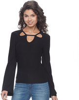 Mudd Juniors' Cutout Bell Sleeve Top
