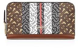 Burberry Monogram Stripe E-Canvas & Leather Zip Around Wallet