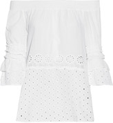 W118 by Walter Baker Brooke off-the-shoulder broderie anglaise cotton-broadcloth top