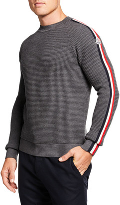 Moncler Men's Waffle-Knit Sweater w/ Side Tricot