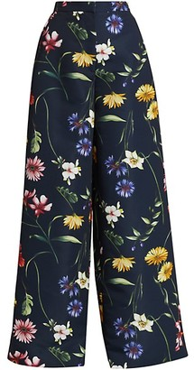 Oscar de la Renta Floral High Waisted Wide-Leg Pants