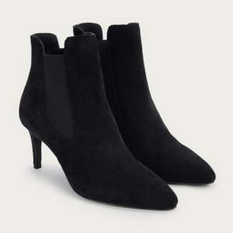 The White Company Suede Kitten Heel Boots, Black, 36