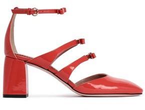 Red(v) Bow-embellished Patent-leather Pumps
