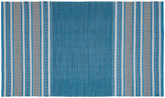 """One Kings Lane Tauk Flat-Weave Rug - Blue/Gray - 2'3""""x8'"""