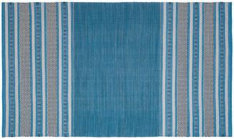 """One Kings Lane Tauk Flat-Weave Rug - Blue/Gray - 2'6""""x4'"""
