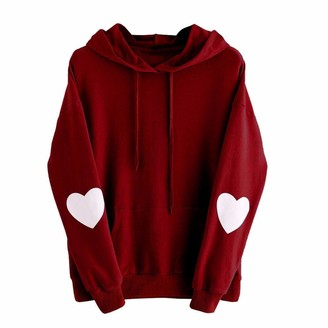 Xmiral Women Sweatshirt Plus Size Long Sleeve Solid Heart Hoodie for Women Polyester Plain Jumper Pullover Tops Blouse (3XL