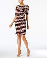 Connected Belted Metallic Chevron-Lace Sheath, Regular & Petite Sizes