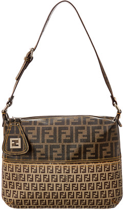 Fendi Brown Zucca & Zucchino Coated Canvas Shoulder Bag