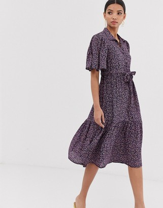 Y.A.S floral floaty sleeve midi dress-Multi