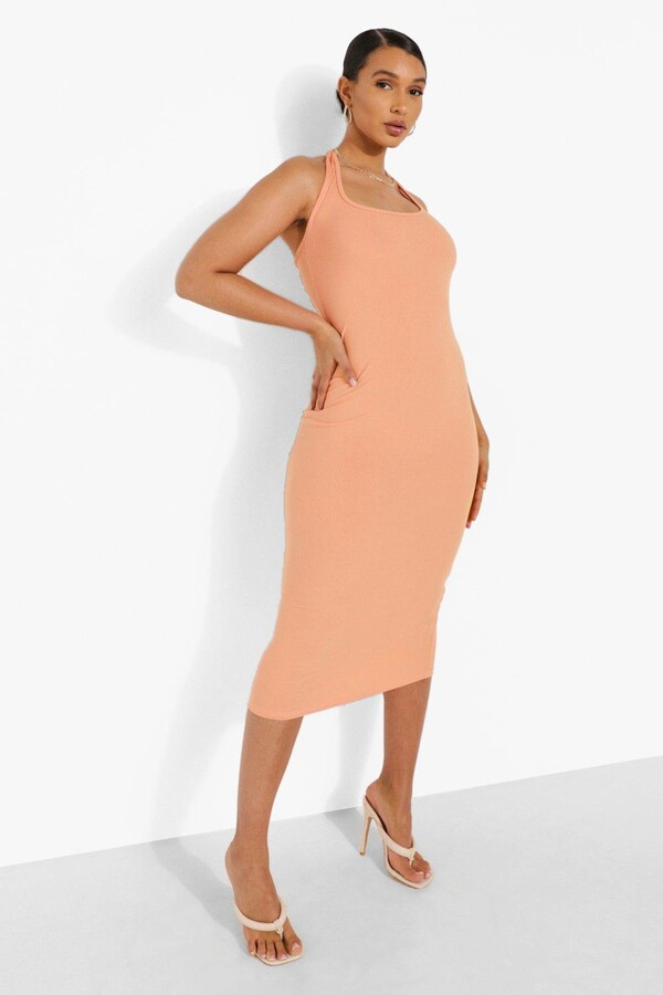 boohoo Plunge Scoop Halter Rib Midi Dress