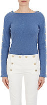 Balmain Women's Button-Embellished Cotton Long-Sleeve Top-BLUE
