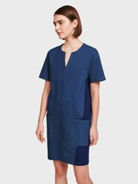 White + Warren Denim Colorblock Dress