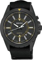 Seiko Men's Automatic Kinetic Recraft Series Black Nylon Strap Watch 42mm SKA705