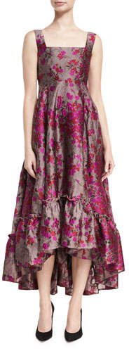 Co Metallic Floral Jacquard High-Low Dress