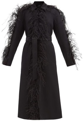 Giambattista Valli Single-breasted Feather-trim Twill Coat - Black