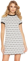 Quiz White And Black Knitted Jacquard Tunic Dress