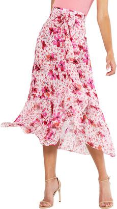MISA Themis Tie-Front Midi Skirt