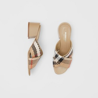 Burberry Latticed Leather Block-heel Sandals